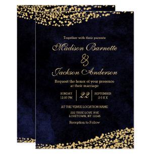 Navy Blue Watercolor Gold Wedding Invitation