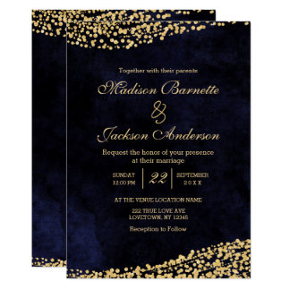 Navy Blue Watercolor & Gold Wedding Invitation