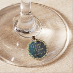 Navy Blue Watercolor & Gold Wedding Maid of Honor Wine Glass Charm