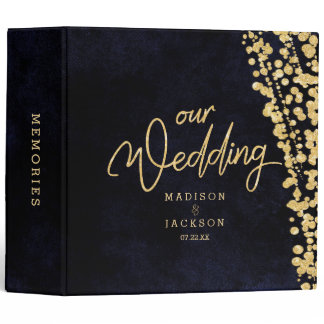 Navy Blue Watercolor & Gold Wedding Photo Album Binder