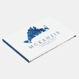 Navy Blue Watercolor Martha's Vineyard Map Wedding Guest Book