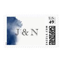 Navy Blue Watercolor Monogram Postage Stamp