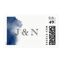 Navy Blue Watercolor Monogram Postage Stamp