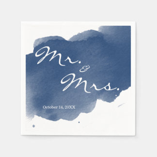 Navy Blue Watercolor Mr Mrs Cocktail Party Napkin