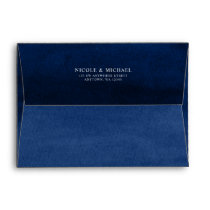Navy Blue Watercolor Return Address A7 Envelope