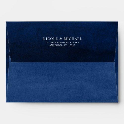 Navy Blue Watercolor Return Address A7 Envelope