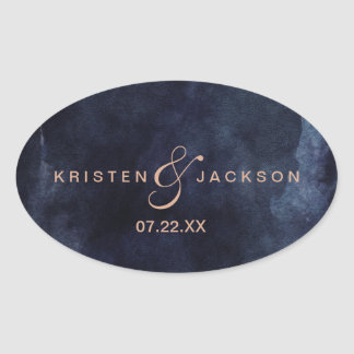 Navy Blue Watercolor & Rose Gold Monogram Wedding Oval Sticker