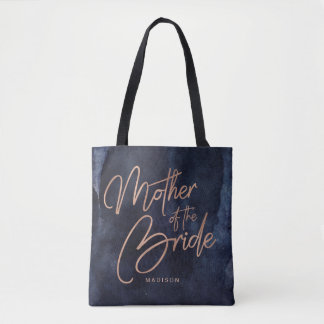 Navy Blue Watercolor Rose Gold Mother of the Bride Tote Bag