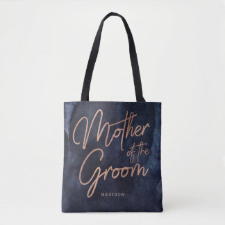 Navy Blue Watercolor Rose Gold Mother of the Groom Tote Bag