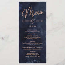 Navy Blue Watercolor & Rose Gold Wedding Menu