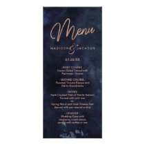 Navy Blue Watercolor & Rose Gold Wedding Menu