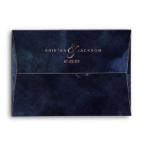 Navy Blue Watercolor & Rose Gold Wedding Monogram Envelope