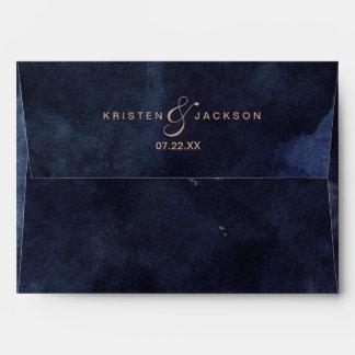 Navy Blue Watercolor & Rose Gold Wedding Monogram Envelope