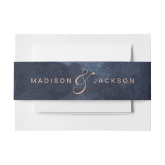 Navy Blue Watercolor & Rose Gold Wedding Monogram Invitation Belly Band