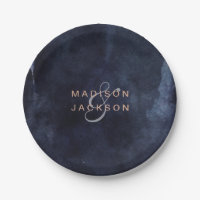 Navy Blue Watercolor & Rose Gold Wedding Monogram Paper Plate