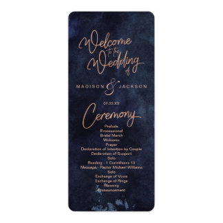 Navy Blue Watercolor & Rose Gold Wedding Program