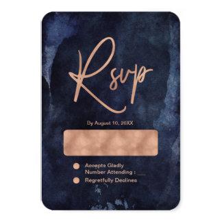 Navy Blue Watercolor & Rose Gold Wedding RSVP Card