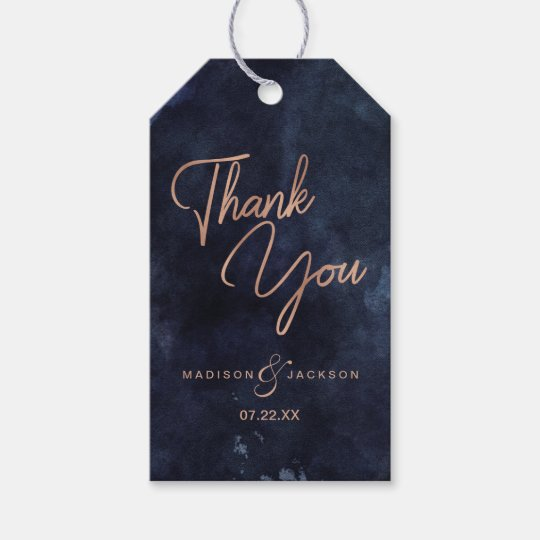 navy blue watercolor  u0026 rose gold wedding thank you gift