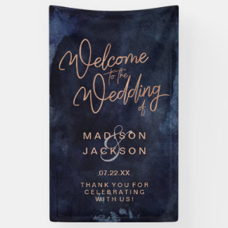 Navy Blue Watercolor & Rose Gold Wedding Welcome Banner