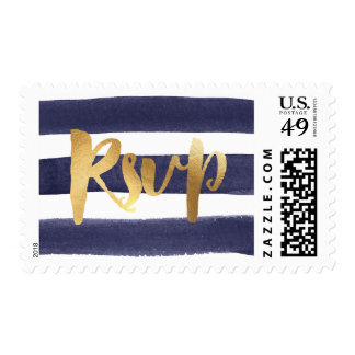 Navy Blue Watercolor Stripes Gold RSVP Wedding Postage