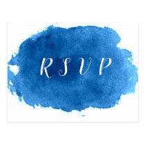 Navy blue watercolor wedding rsvp postcards