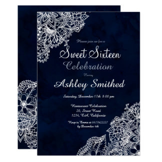 Navy blue watercolor winter floral Sweet 16 Card