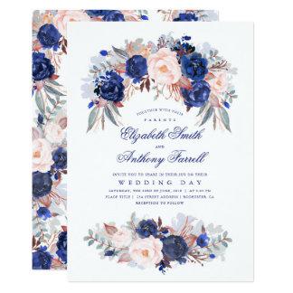 Navy Blue Watercolors - Floral Elegant Wedding Card