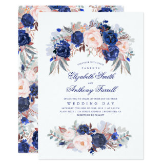 Navy Blue Watercolors - Floral Elegant Wedding Invitation