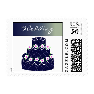Navy Blue Wedding Cake Postage