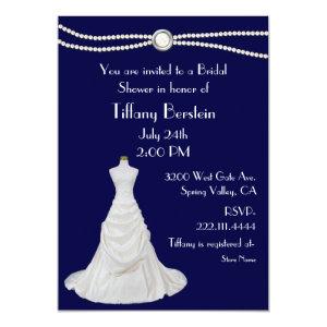 Navy Blue Wedding Dress Bridal Shower Invitation 5