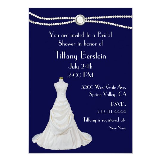 navy blue wedding dress bridal shower invitation