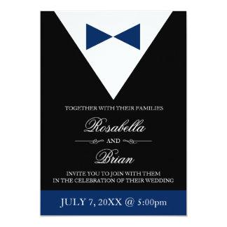 Navy Blue Wedding Invitations | Black Tux & Dress