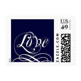 Navy Blue Wedding Love Postage Stamps