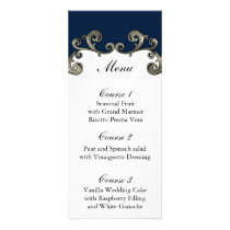 """navy blue"" wedding menu"