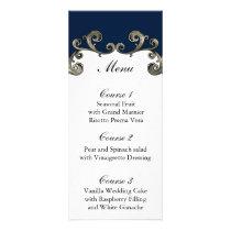 """navy blue"" wedding menu"