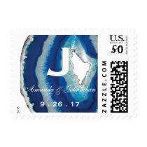 Navy Blue Wedding Monogram | Agate Postage
