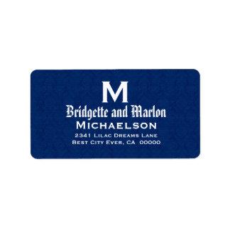 Navy Blue Wedding Monogram Personalized V09 Address Label