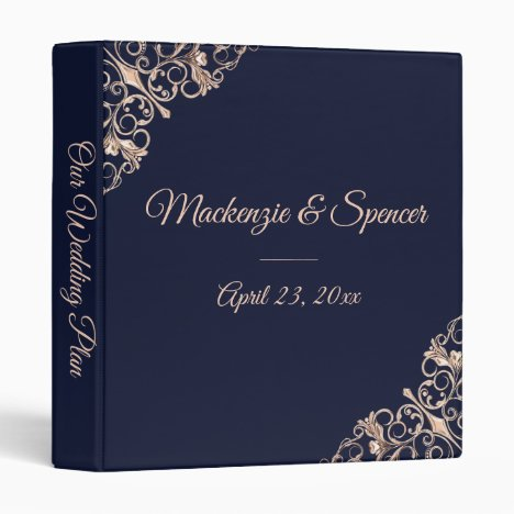 Navy Blue Wedding Planner | Rose Gold Art Deco | Binder