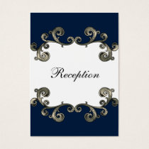 """navy blue"" wedding Reception Cards"