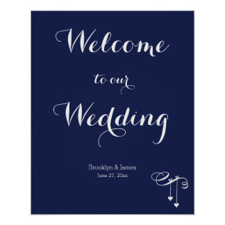 Navy Blue Wedding Reception Sign 16x20 With Hearts Poster