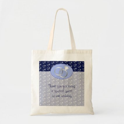 Navy Blue Wedding Rings Pattern Budget Tote Bag