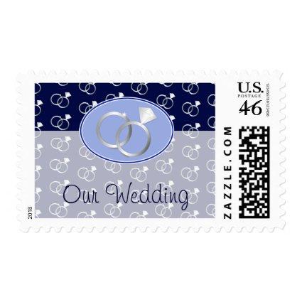 Navy Blue Wedding Rings Pattern Postage