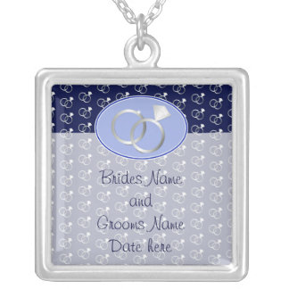 Navy Blue Wedding Rings Pattern Silver Plated Necklace