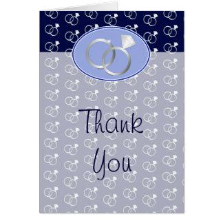 Navy Blue Wedding Rings Pattern Thank You Card