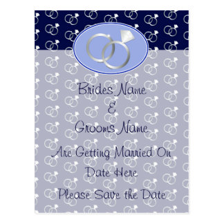 Navy Blue Wedding Rings Save The Date Postcard