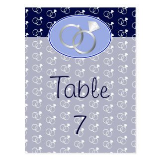 Navy Blue Wedding Rings Table Numbers Postcard