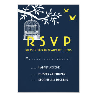 Navy Blue Wedding RSVP Card Vintage Bird Cage