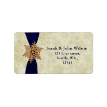 """navy blue"" wedding snowflake return address label"