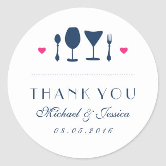 Navy Blue Wedding Thank You Sticker Fork and Spoon