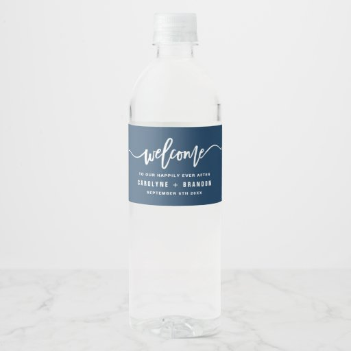 Navy Blue Welcome Lettering Custom Wedding Water Bottle Label